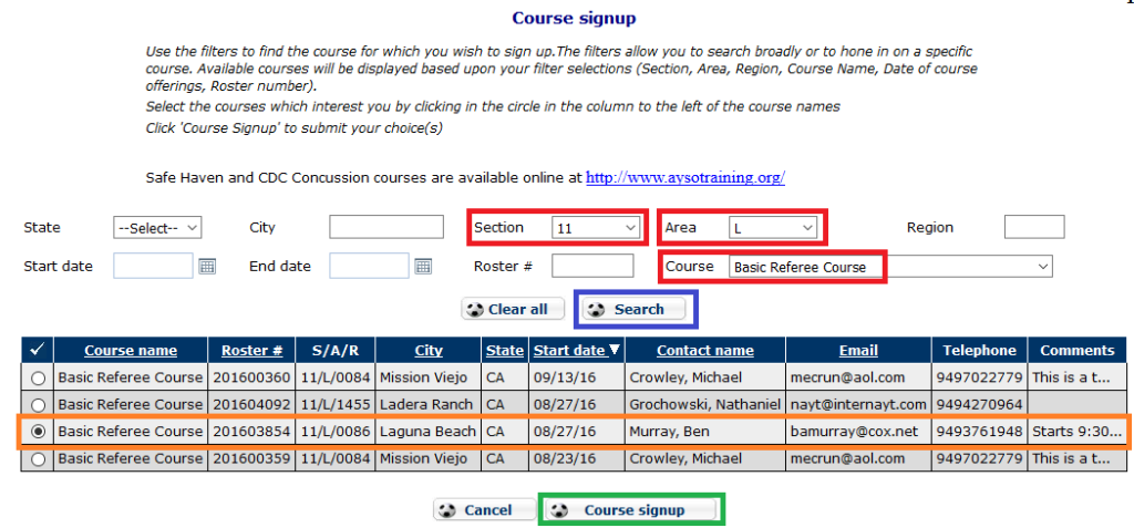 Searching for courses in eAYSO